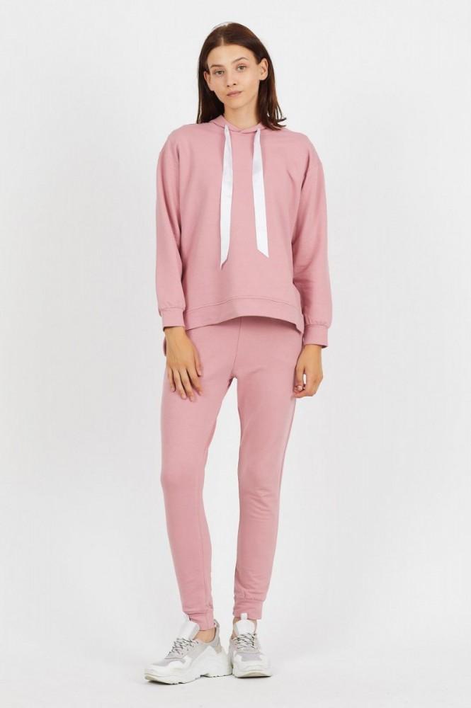 Trening dama casual roz din bumbac cu hanorac cu gluga fashion si panglica satin