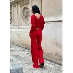 Compleu dama tricot rosu format din pantaloni lungi reiati si bluza cu snur