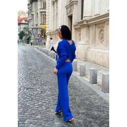 Compleu dama tricot albastru format din pantaloni lungi reiati si bluza cu snur
