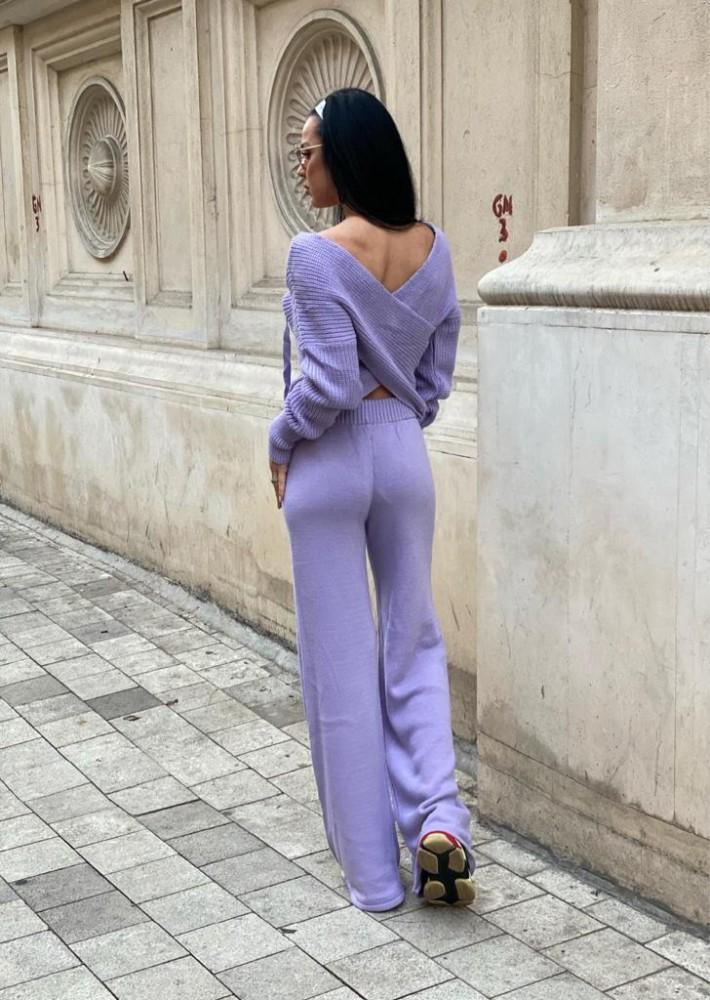 Compleu dama tricot lila format din pantaloni lungi reiati si bluza cu snur