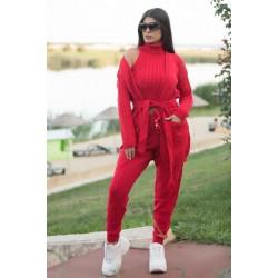 Trening dama 4 piese cardigan + pantaloni + maieu + body din tricot rosu