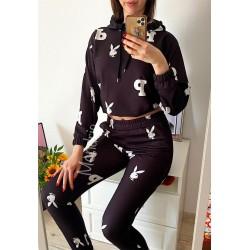 Compleu dama ieftin negru din bumbac cu hanorac cu gluga si imprimeu fashion PY