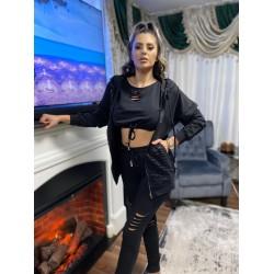Compleu dama 3 piese din bumbac negru compus din pantaloni lungi + maieu + hanorac cu rupturi