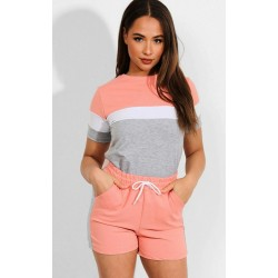 Trening dama din bumbac roz cu gri si pantaloni scurti Minimal