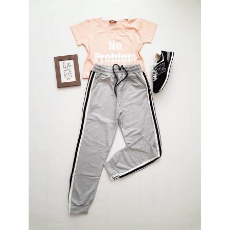 Compleu dama casual COMBO din pantaloni lungi gri yes + tricou roz No problem