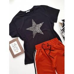 Compleu dama casual COMBO din pantaloni lungi G rosu + tricou stea negru