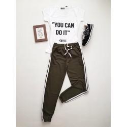 Compleu dama casual COMBO din pantaloni lungi dungi laterale kaki + tricou alb You can do it
