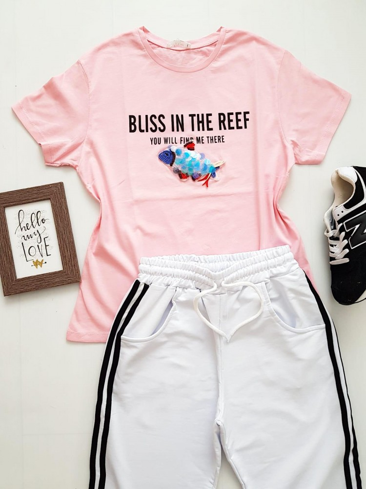 Compleu dama casual COMBO din pantaloni lungi dungi laterale albi + tricou peste roz