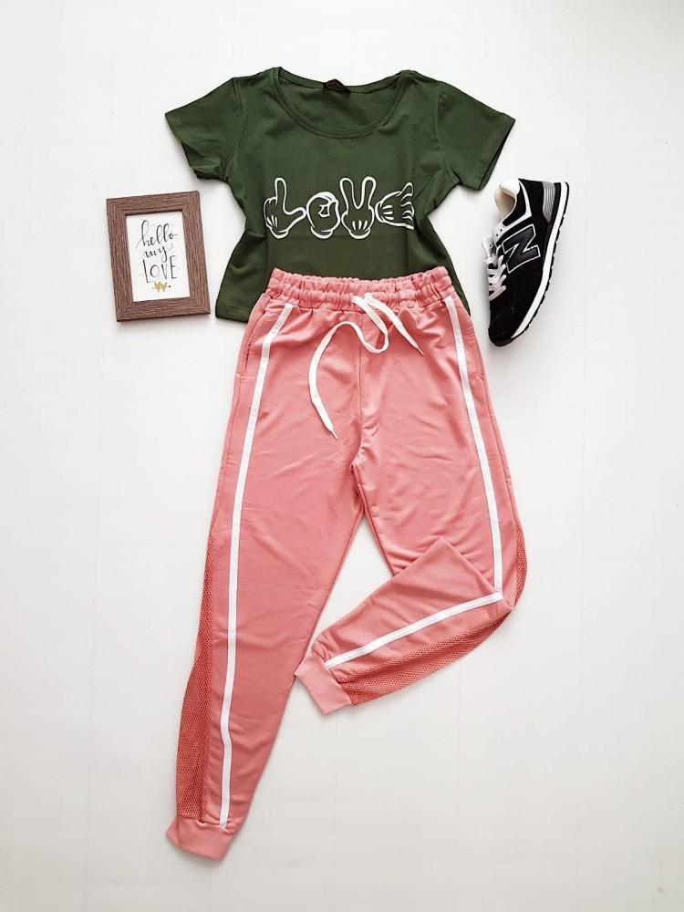 Compleu dama casual COMBO din pantaloni lungi plasa roz + tricou kaki Love
