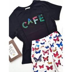 Compleu dama casual COMBO din pantaloni lungi fluturi + tricou Cafe negru