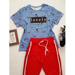Compleu dama casual COMBO din pantaloni lungi plasa rosu + tricou Lovely albastru