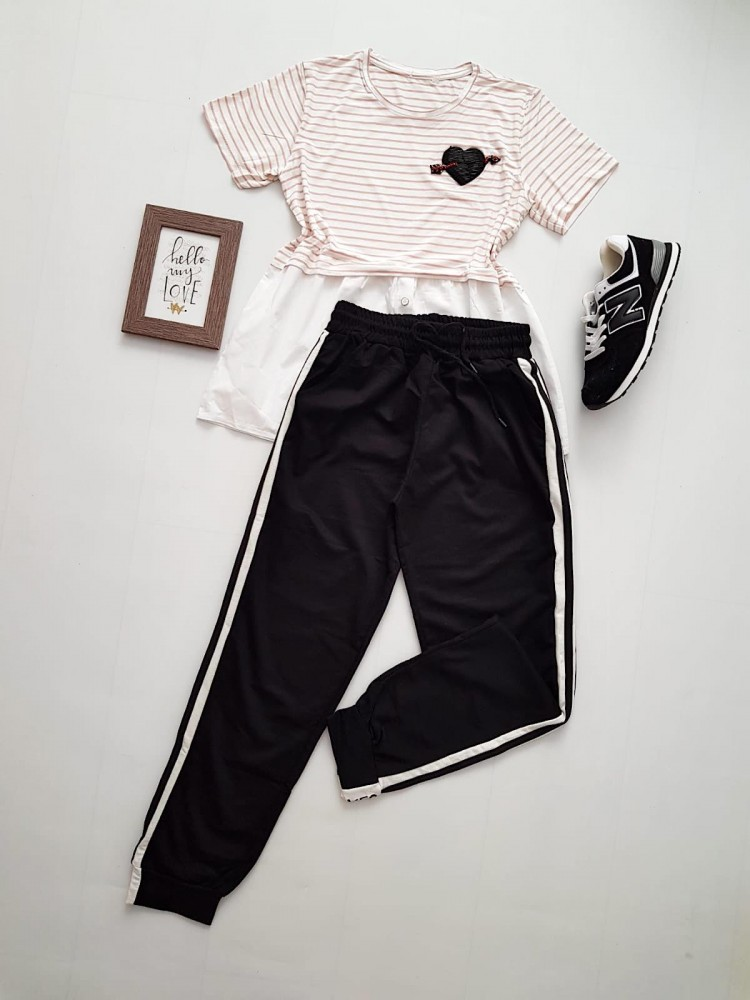 Compleu dama casual COMBO din pantaloni lungi yes negru + tricou inima dungi