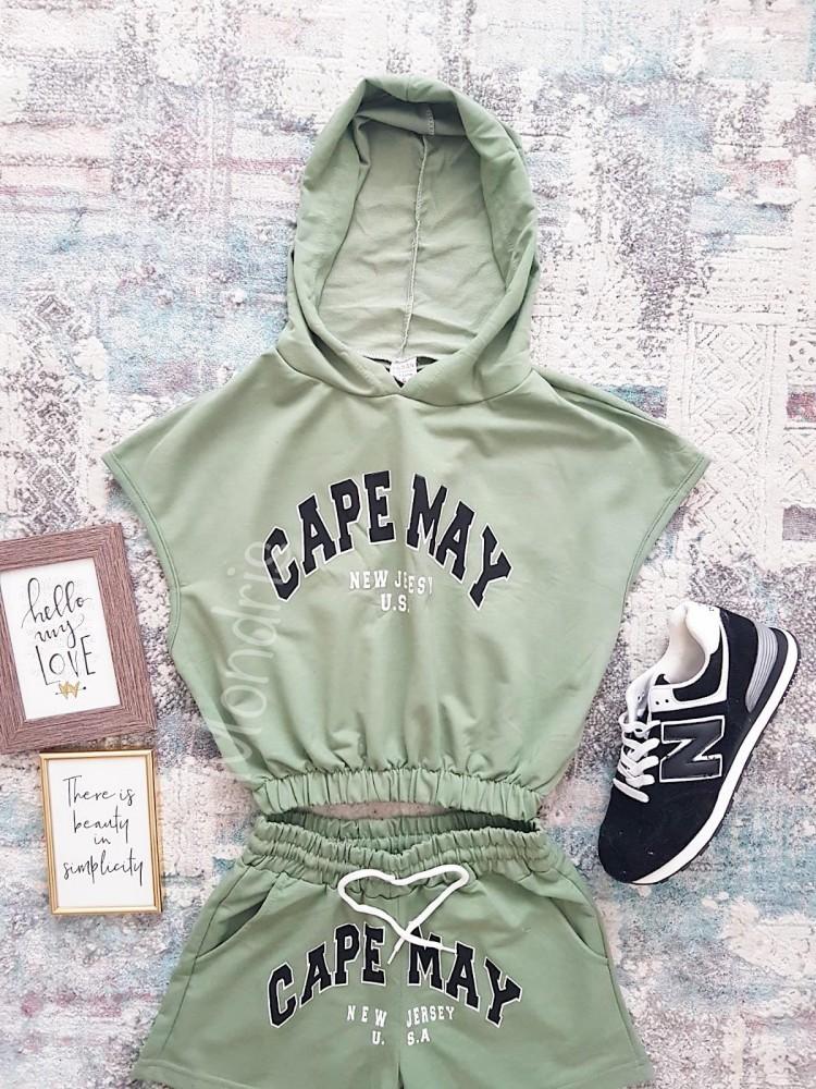 Compleu dama din bumbac verde compus din pantaloni scurti si hanorac scurt Capemay