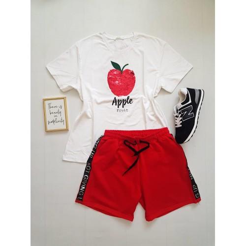 Compleu dama casual COMBO din pantaloni scurti rosii scris + tricou Apple alb
