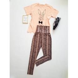 Compleu dama casual COMBO din colanti lungi snake + tricou Iepuras roz