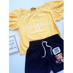 Compleu dama casual COMBO din pantaloni scurti negri Urs + tricou gaben YSL