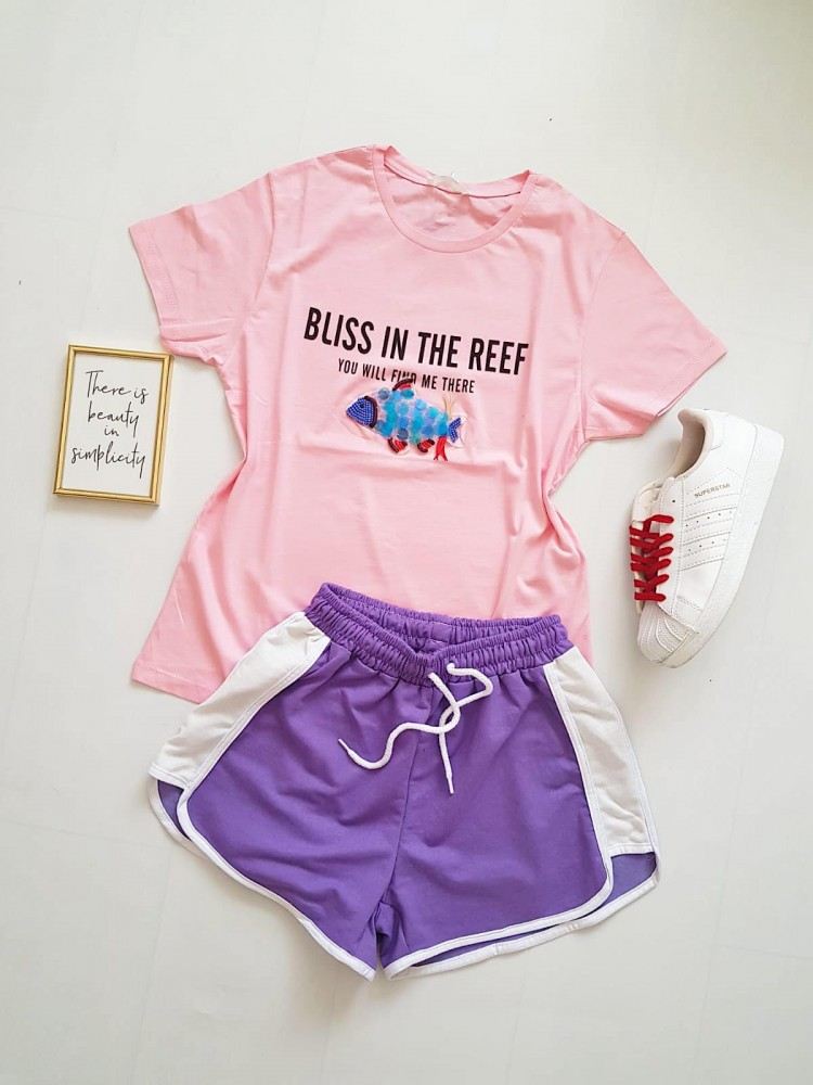 Compleu dama casual COMBO din pantaloni scurti banda mov + tricou peste roz