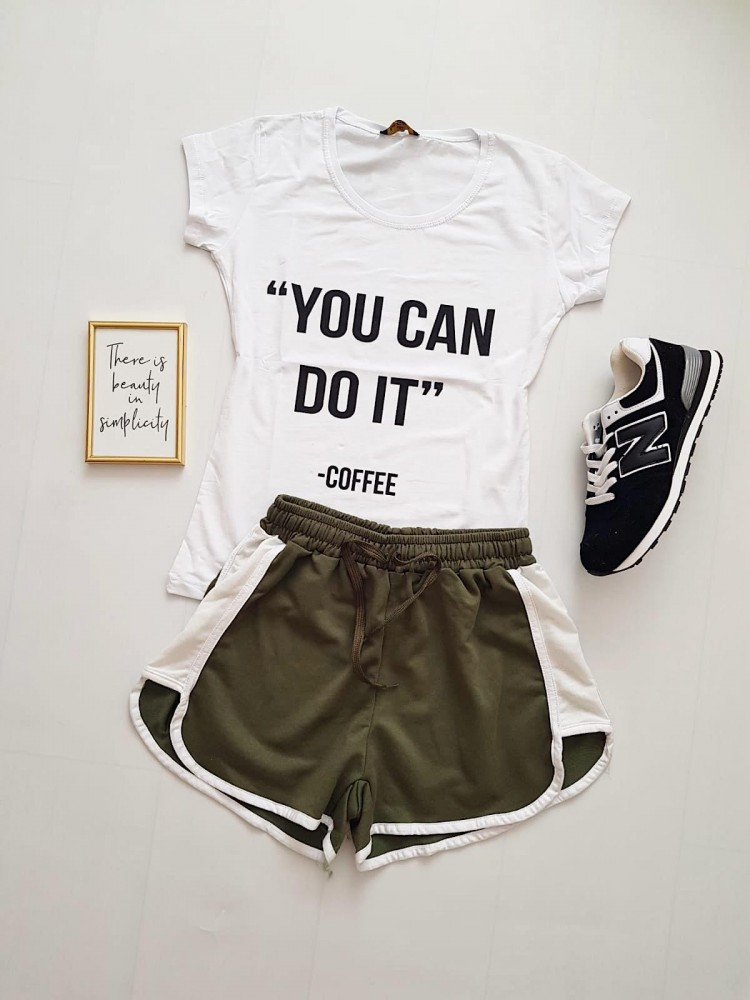 Compleu dama casual COMBO din pantaloni scurti kai banda + tricou alb You can do it