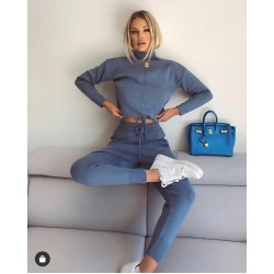 Compleu dama tricot bleu format din pantaloni lungi si pulover pe gat