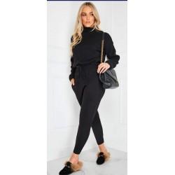 Compleu dama tricot negru format din pantaloni lungi si pulover pe gat
