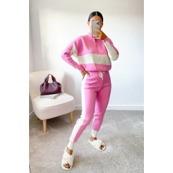 Compleu dama tricot roz format din pantaloni lungi si hanorac cu fermoar la gat