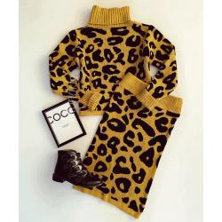 Compleu dama ieftin din tricot galben mustar cu animal print compus din bluza si fusta