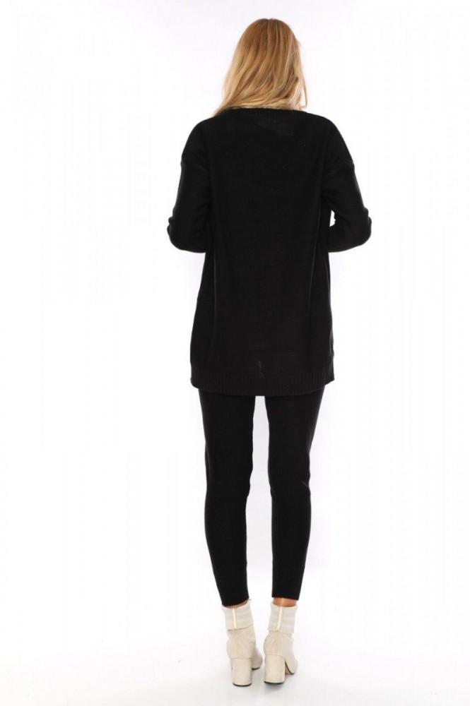Compleu dama 3 piese ieftin din tricot negru compus din pantaloni+maieu+cardigan