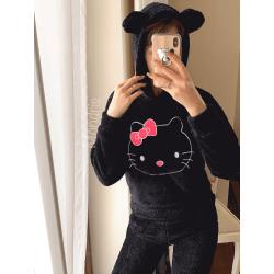 Compleu dama plusat negru compus din trei piese cu model Hello Kitty