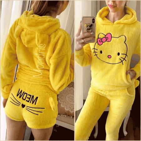 Compleu dama plusat galben compus din trei piese cu model Hello Kitty