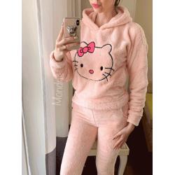 Compleu dama plusat roz compus din trei piese cu model HK