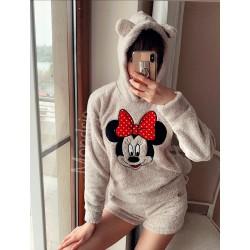 Compleu dama plusat crem compus din trei piese cu model Minnie Mouse