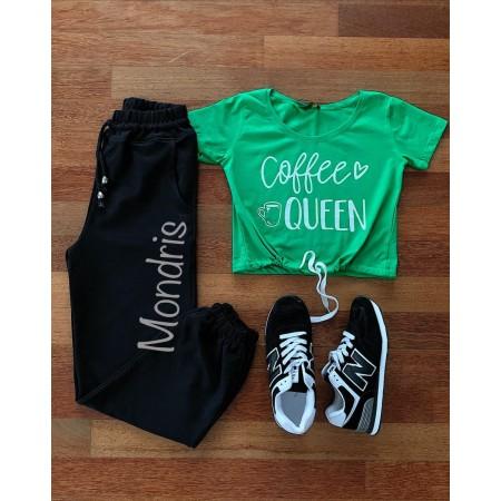 Compleu dama casual compus din pantaloni lungi negri si tricou verde Coffee Queen