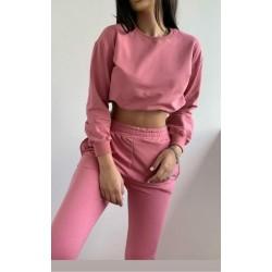 Compleu dama casual ieftin roz compus din pantaloni lungi cu elastic si buzunare si hanorac scurt Fly