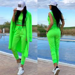 Compleu dama ieftin verde compus din pantaloni lungi + maieu + cardigan lung