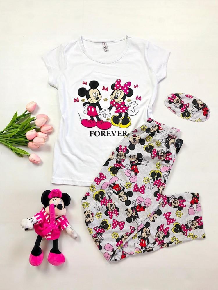 Pijama dama bumbac primavara-vara alba cu pantaloni lungi  si tricou cu imprimeu simpatic Forever