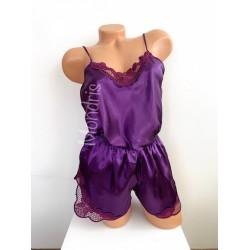 Pijama dama ieftina primavara-vara mov din satin lucios cu model dantelat