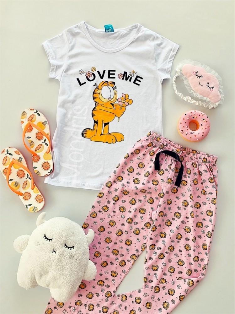 Pijama dama bumbac primavara vara cu pantaloni lungi roz si tricou alb cu imprimeu Garfield