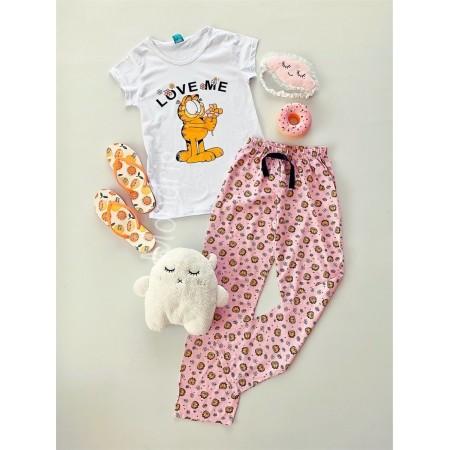 Pijama dama bumbac primavara vara cu pantaloni lungi roz si tricou alb cu imprimeu GF love me