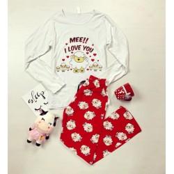 Pijama dama ieftina bumbac lunga cu bluza cu maneca lunga alba si pantaloni lungi rosii cu imprimeu Oite I Love You
