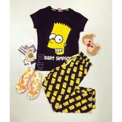Pijama dama ieftina primavara-vara cu pantaloni lungi si tricou negru cu imprimeu Bart Simpson