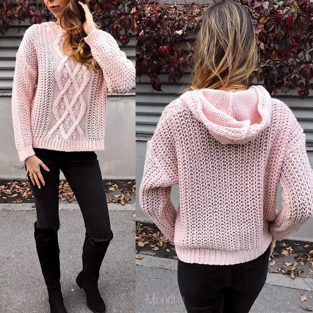 Pulover dama gros din tricot roz cu impletitura cosita