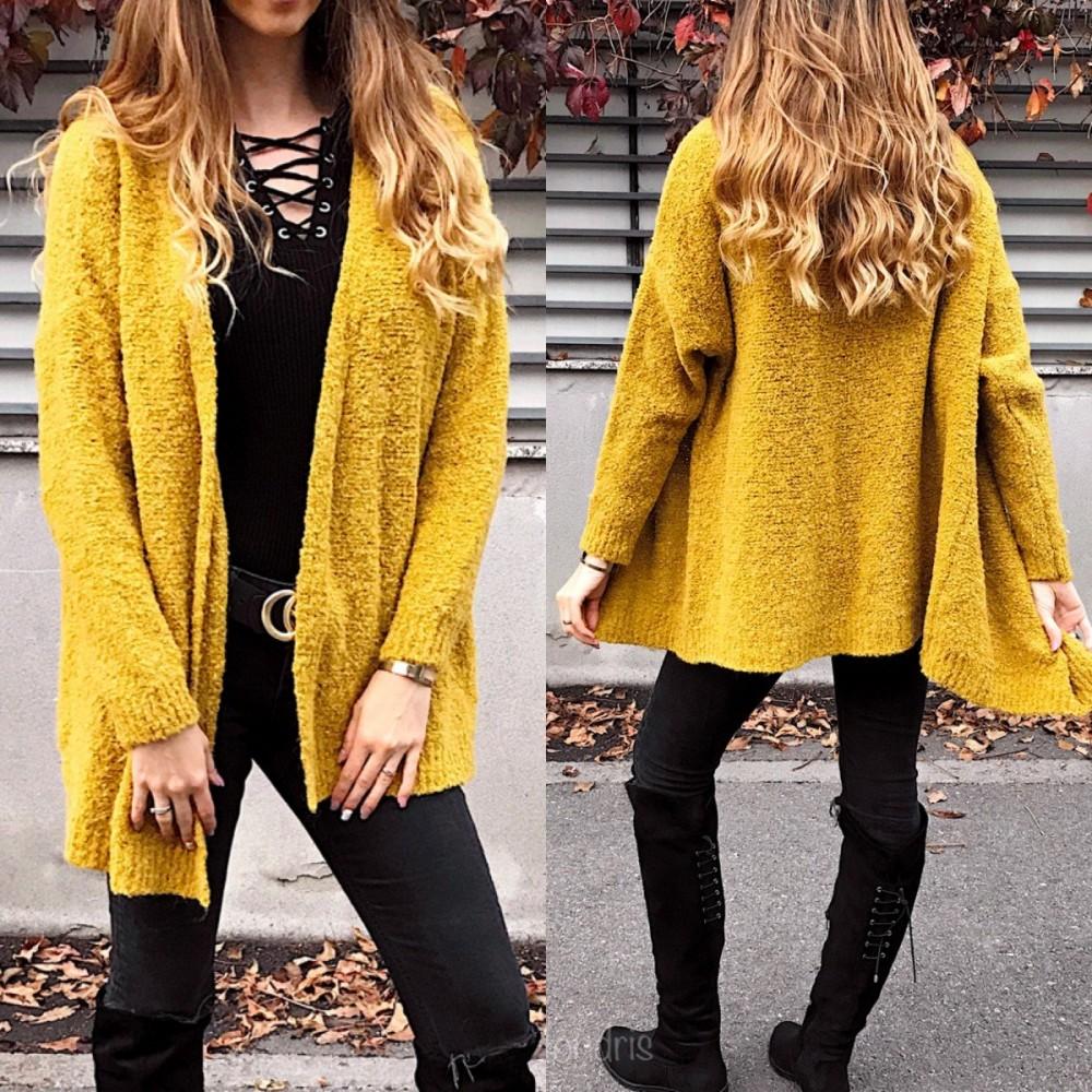 Cardigan dama din tricot galben mustariu cu maneca lunga