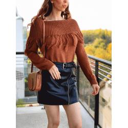 Pulover dama ieftin din tricot maro cu guler larg si franjuri