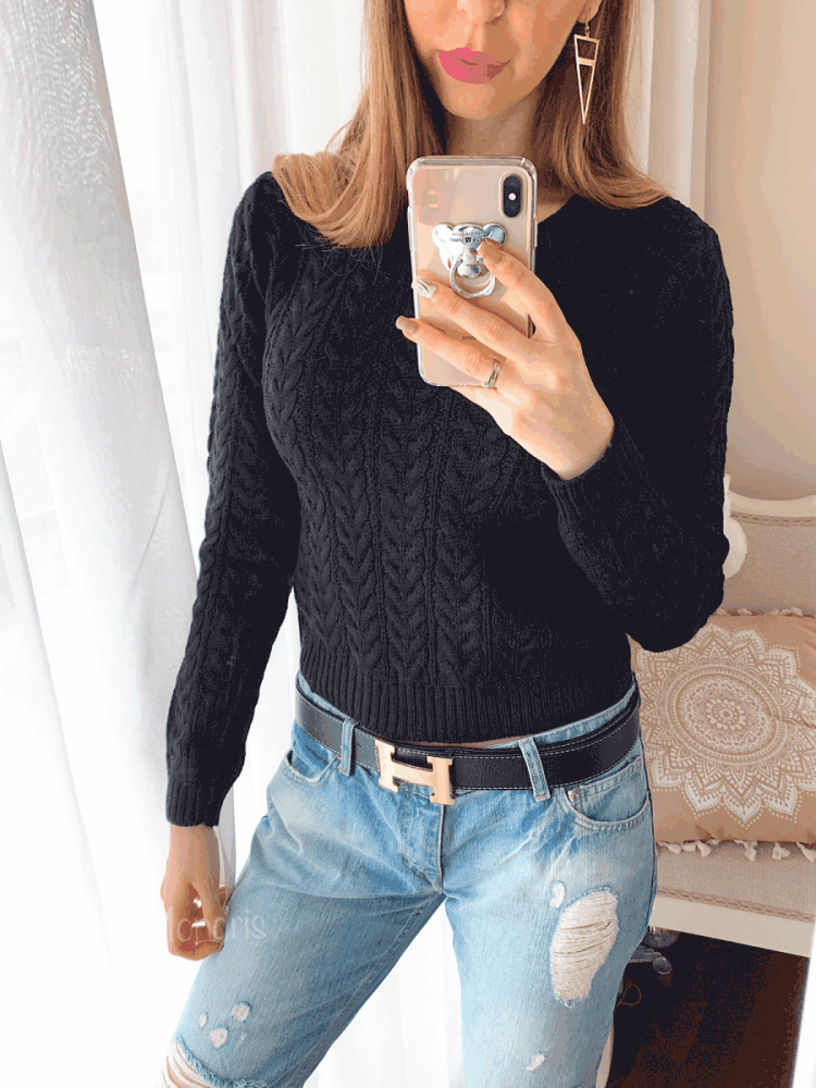Pulover dama ieftin din tricot negru cu impletituri mici