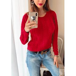 Pulover dama ieftin din tricot rosu cu impletituri mici