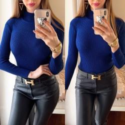 Pulover dama ieftin din tricot bleumarin albastru inchis raiat cu guler inalt
