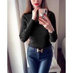 Pulover dama ieftin tricot negru cu guler pe gat