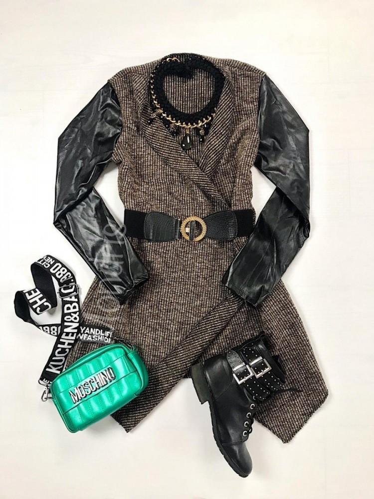Cardigan dama ieftin asimetric maro cu catarama