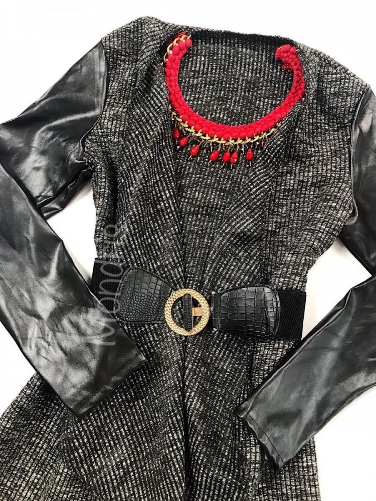 Cardigan dama ieftin asimetric negru cu catarama