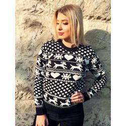 Pulover dama ieftin din tricot negru cu imprimeu cu reni